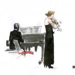 Nina Skopek au violon, Brigitte Coissard au piano