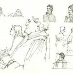 juge, avocats et accusés